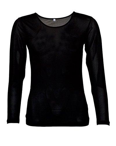 Foster Natur Damen Unterhemd Langarm, 100% Seide, 92g/m² (XL, Schwarz)