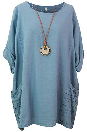 Storm Island Damska jednokolorowa bawełniana bluzka damska Lagenlook tunika luźna sukienka koszula koronka kieszenie SI099