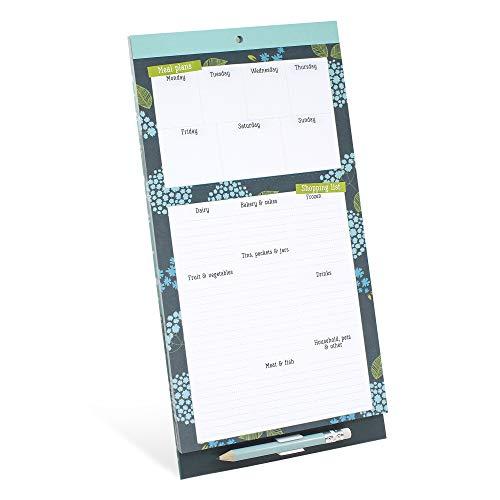 Boxclever Press Lista Compra Nevera. Pizarra magnética con lista de la compra, lista de comidas y menú. Planificador semanal bloc de notas. Incluye un lápiz y un bolsillo.