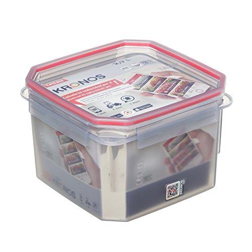 Tatay Fiambrera de Alimentos Kronos, con código QR Exclusiva y APP, 2.9L de Capacidad, Hérmetica, Libre de BPA, Apto Lavavajillas y Microondas. Apilables. Medidas 18.8 x 18.8 x 12.7