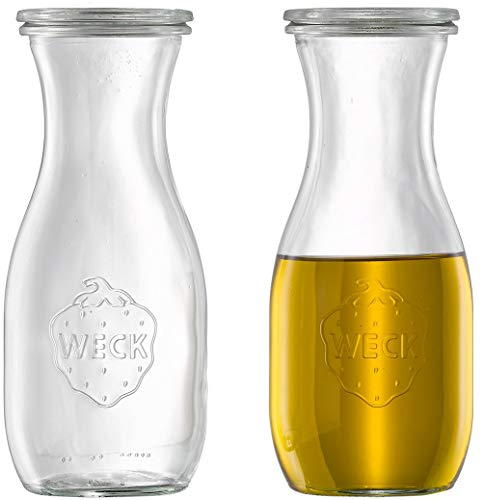 6 x Weck Dressingflasche/Ölflasche / Essigflasche/Dekoglas inkl Deckel | 530 ml