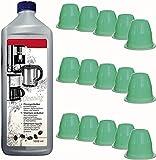 TronicXL 15 cápsulas de limpieza + 1 L de limpiador líquido Capsule para Nespresso Essenza Mini XN1108 Cápsula de limpieza de cápsulas de cápsulas, kit de limpieza para eliminar la cal