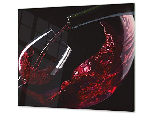 Concept Crystal Mehrfunktional Hartglas Gehärtetes - Abdeckplatte für Induktionskochfeld - Schneideplatten Single mit 60 x 52 cm und Double - Zwei Bretter mit 30 x 52 cm D04 Drinks Series: Wine 14