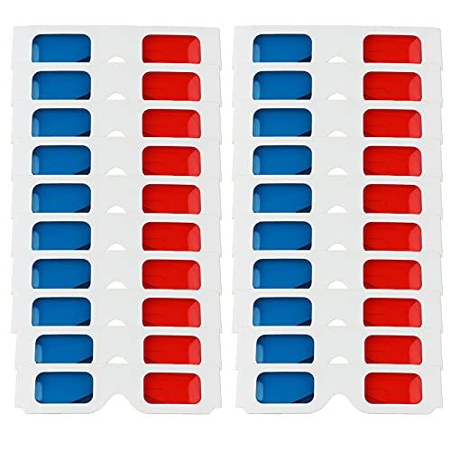 Gafas 3D anaglifo Estilo Caja de Gafas 3D Gafas de Visión 3D Rojo Azul para fiestas de música al aire libre, bar, fuegos artificiales, aprendizaje de niños, televisión, viajes, juegos de PC (20 PCS)