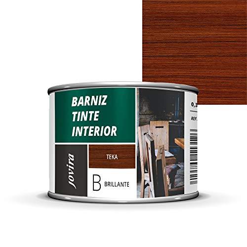 BARNIZ TINTE INTERIOR BRILLANTE, (6 COLORES), Barniz madera, Protege la madera, Decora y embellece la madera. (375 ml, TEKA)