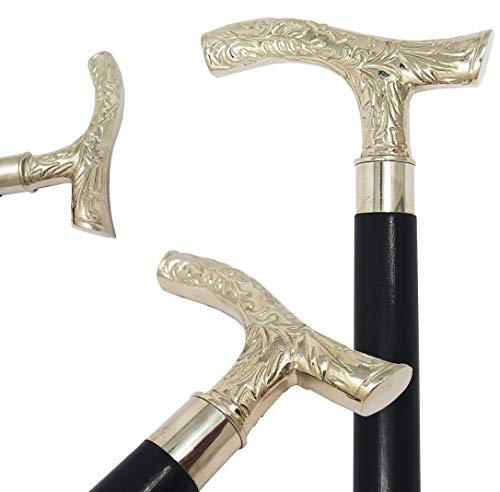 Walking Stick Accessories Handmade Walking Stick Canes Handle The King of Walking Sticks Premium Solid High Grade Brass /& Natural Golden Finish Unique Gifts for Mens Womens Grandpa Grandma.
