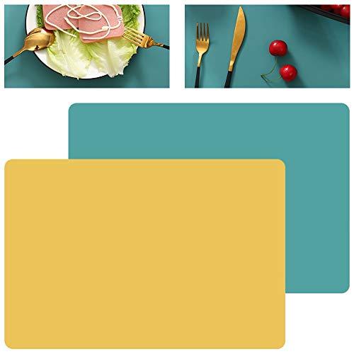 GlobalDream Silikon Tischset, 4pcs Grün Gelb Silikon Platzset Platzdeckchen Silikon Tischunterlage Tischsets Abwaschbar Tischset rutschfest für Tisch Esszimmer Küche, 40cm x 30cm