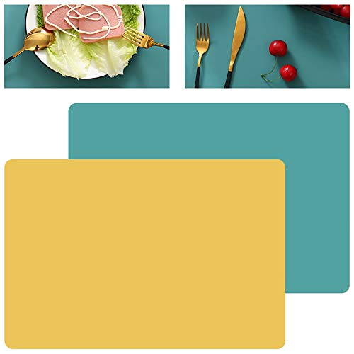 GlobalDream Manteles Individuales Silicona, 4 Piezas Silicona Salvamanteles Individuales para Mesa de Comedor Kitchen Placemat, Verde Amarillo, 40cm x 30cm