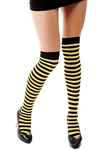 Dress Me Up - W-001B-by Strümpfe Damenstrümpfe Overknees Schwarz Gelb Gestreift Geringelt Ringelstrümpfe Flotte Biene Bienchen Z160