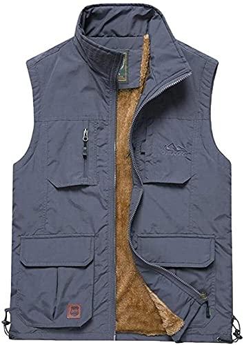 THBEIBEI Angelweste für Herren, leicht, warm, wasserdicht, Outdoor-Jacke, atmungsaktiv, mit Haken, abnehmbar (Farbe: Grau, Größe: L (Brustumfang 118 cm)