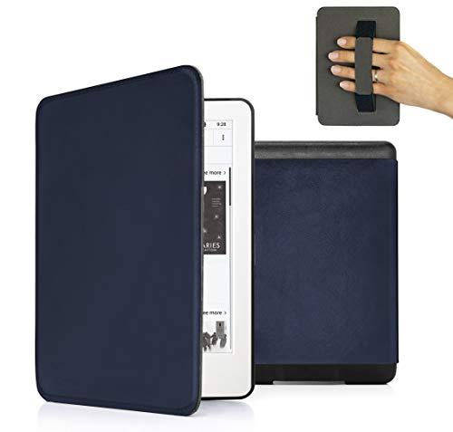 MyGadget PU Leder Hülle für Amazon Kindle Paperwhite (2018) 10. Generation - Handschlaufe und Schlaf Funktion Magnetische Kunstleder Flip Hülle - Blau