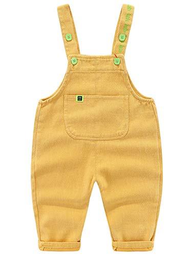 Camilife Baby Jungen Mädchen Basic Denim Latzhosen Overall Baumwolle Jeans Hose mit Hosenträger Bonbon Farben Süß Lieblich - Einfarbig Gelb Größe 80