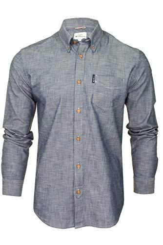 Photo of Ben Sherman Mens Chambray Shirt – Long Sleeved (Dark Navy) XL
