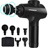 Strobody Massage Gun, New Upgraded Handheld Deep Tissue Percussion Massager with Ultra-Quiet, 6 Replaceable Heads and Carrying Case, Full-Body Relief for Muscle Ache, Pain, Tension