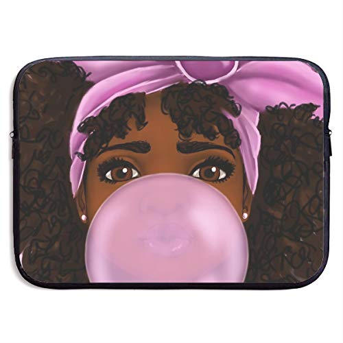 Black African Girl Bubble Gum Laptop Sleeve Case Bag Cover for Apple MacBook/Asus/Acer/Samsung/DELL/HP/Lenovo/Sony/RCA Computer 13 Inch