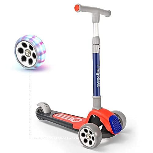 Kinder Roller Scooter mit PU LED Leuchtenden Räder,einstellbaren Höhe und Doppelte Vorderräder Big Rädern Dreiradscooter Kickboard Kinderroller für Mädchen und Jungen,3 4 5 6 7 8Jahre,Rot