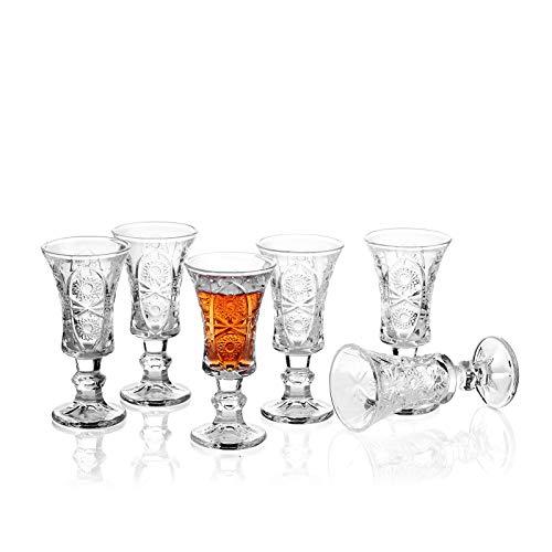 Shot Glasses, 1.5oz Fancy Shot Glasses Set of 6/ Shot Glasses for Liqueurs/Classy Shot Glasses Set/Super Cute Ornate Shot Glasses