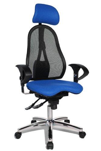 Topstar Sitness 45, Fitness-Drehstuhl, Bürostuhl, Schreibtischstuhl, inklusive höhenverstellbare Armlehnen und Kopfstütze, blau