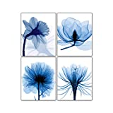 Blue Watercolor Flickering Flower Modern Abstract Paintings Set of 4 (8X10 inches Canvas Picture), Grace Floral Pictures Panels Artwork Wall Art for Office Bedroom Home Decorations Frameless