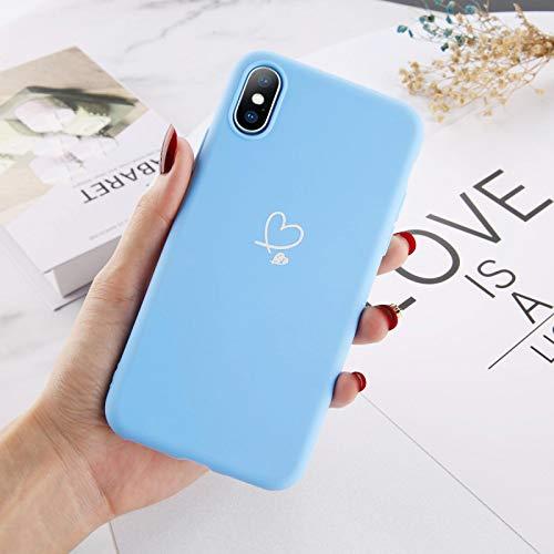 Custodia per telefono FQSCX per iPhone 11 Pro Max XS Max XR X 8 7 6 6s Plus Custodia per coppie cuore d'amore Colore caramella per iPhone 5 5s SE Custodia morbida in silicone ForiPhoneXR Blu