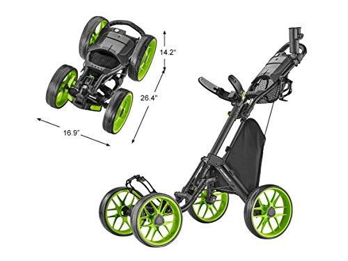CaddyTek Caddycruiser One Version 8 - One-Click Folding 4 Wheel Golf Push Cart, Blue