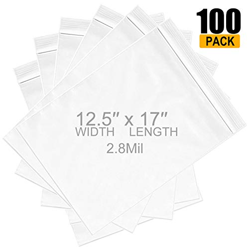 Eliseo Large Ziplock 12.5' x 17', 2.8 Mil Resealable Zipper Jumbo Size Plastic 2Gallon Storage Poly Bags (Pack of 100), Big Strong Clear Ziplock Storage Bags