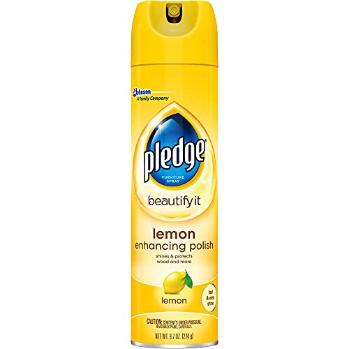 Pledge Multisurface Furniture Polish Spray, Works on Wood, Granite, and Leather, Shines and Protects, Lemon, 9.7 oz