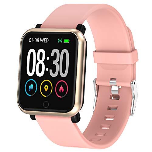 Polywell Fitness Armbanduhr mit Herzfrequenz, Fitness Tracker, Bluetooth Sportuhr Aktivitätstracker Schrittzähler, Schlaf Monitor, Kalorienzähler (Leichte Koralle-1)