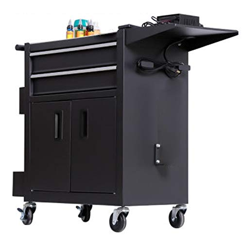 YGWE Tool Cabinets Multifunctional Auto Repair Tool Trolley Workbench Workshop Tool Tin CabinetTool Cart With Drawer Tool Chest (Color : Black, Size : 62x33x74cm)