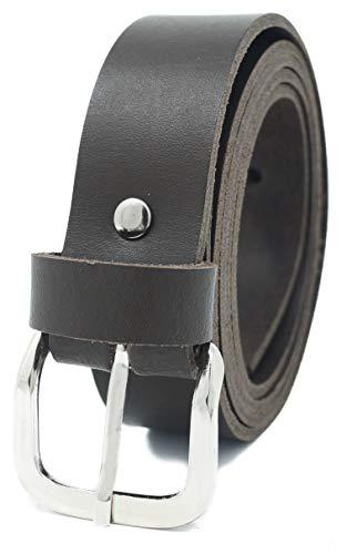 Cinturón de cuero real para mujeres y hombres - Ancho 3 cm - Negro/Marrón/Rojo/Blanco/Gris/Burdeos - Hecho en Alemania (85cm, Marrón)