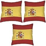 Tanto Badges Juego de 3 fundas de cojín de la bandera de España de 45 x 45 cm.