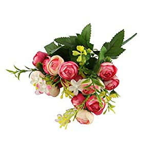 CHXIHome 15 Heads DIY Ranunculus Bouquet,Artificial Silk Flowers Bunch with Leaves,Hand Flower Blooming Bride Party Artificial Flowers Silk Rose