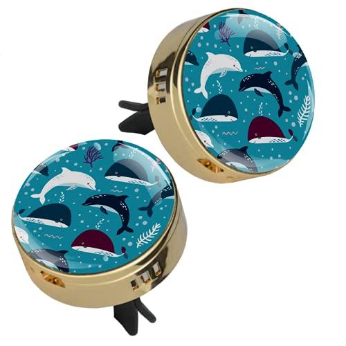 Z&Q 2 Piezas de Medallón con Clip de Ambientador Océano Ballena Azul delfín Difusor de Aceite Esencial de Aromaterapia de Coche con 4 Piezas Estera de suplemento de PE 33.8mmX46.4mm