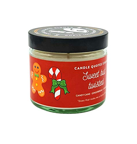 Sweet But Twisted Scented Candle – Candy Cane Gingerbread Cinnamon Candles for Men and Women – Soy Blend Scented Candle – Holiday Festive Candle – Home Office Candle – Luxury Candles with Lid