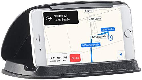 Lescars Smartphone Halter: Universal-Mobilgeräte-Halterung fürs Armaturenbrett, bis 11,5cm Breite (Handyhalter Kfz)