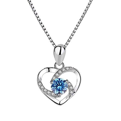 CS Collar en Forma de corazn S925 Collar de Collar de Estilo Minimalista Plata Colgante...