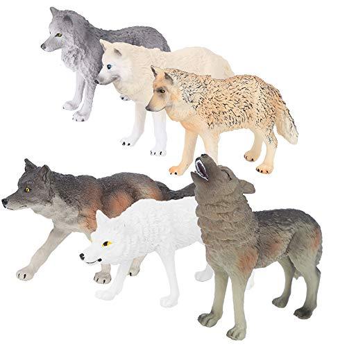 Simulação Animal Toys Wolf Figurines, Kids Desktop Collection for Preschol Education(Terno de seis lobos)
