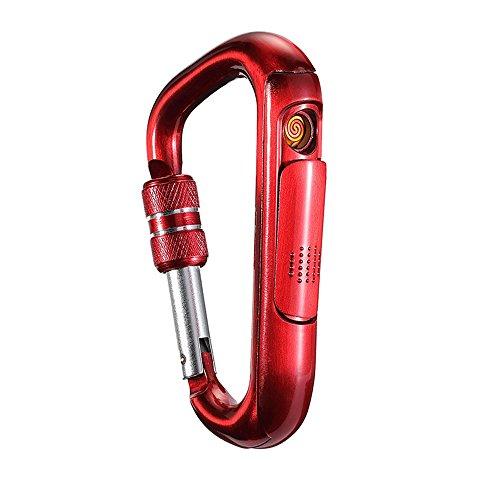 LINGAN Lock Schnalle USB Feuerzeug Tragbare Elektronische Wiederaufladbare Winddicht Feuerzeuge Aluminium Karabiner Außen Schraube Snap Clip Rucksack Aufhängen Schlüsselanhänger Haken Vorhängeschloss, Rot Rot