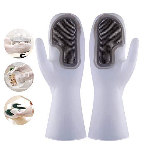 VOVCIG Spülhandschuhe, Silikon-Waschhandschuhe, rutschfest, wärmeisolierend, verschleißfest, Handschuhe mit magischer Bürste