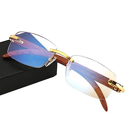 Magnifier anti-vermoeidheidsleesbril, bedrijf van hout, antiblauw licht, intelligente progressieve multifocale grote kanaal, goudkleurig, computerveiligheidsbrillen, geschikt voor het bekijken van mobiele telefoons