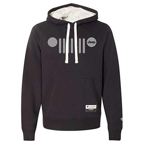 Detroit Shirt Company Mens Jeep Grill Champion Originals Hoodie Sweatshirt - Black (Large)