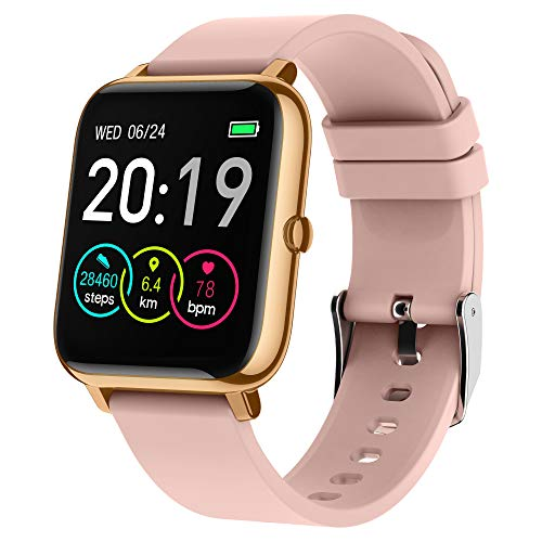 Smart Watch, Popglory 1.4 Inch Smartwatch with Blood Pressure, Blood Oxygen Monitor, Fitness Tracker with Heart Rate Monitor, Full Touch Fitness Watch Compatible with Android & iOS for Men Women