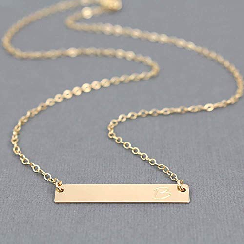 Personalized Nameplate Necklace 14K Gold Filled Bar Pendant Hand Stamped Name Jewelry Birthday Gift For Her