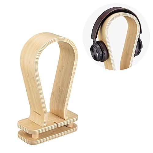 Navaris Soporte de bambú para Auriculares - Base Universal para Cascos con Holder para Cables - Estante para Headphones de bambú - Color Natural