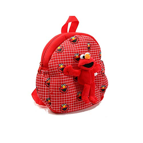 Anime Barrio Sésamo Rojo Elmo Bolsa De Felpa Mochila para Niños Mochila De Jardín De Infantes Juguete 25/30 Cm, Bolsa De Juguetes Blandos De Dibujos Animados Cumpleaños Navidad