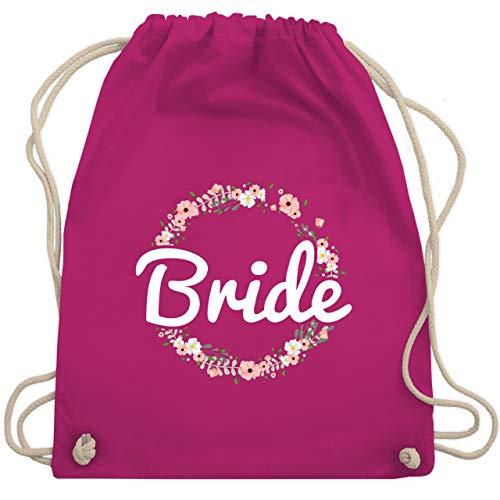 Shirtracer JGA Junggesellenabschied Frauen - Bride Blumenkranz - Unisize - Fuchsia - bride - WM110 - Turnbeutel und Stoffbeutel aus Baumwolle