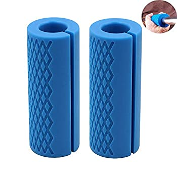 IADUMO Weightlifting Thick Barbell Bar Grips-Bar Grips Barbell Handles Stress Relieve Pair Dumbbell Hand Protector Pull Up Tape Arm Blaster Adapter for Powerlifting Rack Ergonomic Blue .