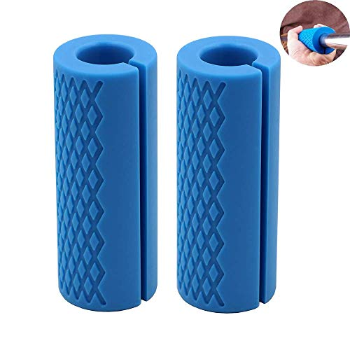IADU Weightlifting Thick Barbell Bar Grips-Fat Grips Alpha Handles Stress Relieve Pair Dumbbell Hand Protector Pull Up Tape Arm Blaster Adapter for Powerlifting Rack Ergonomic(Blue).