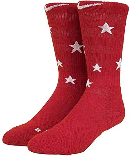 Nike Elite Basketball Crew Socks Stars and Stripes Large (Fits Men 8-12) Red, White, Blue SX7424-608