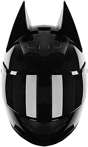 Motocicleta Todoterreno Batman Casco Completo Orejas De Gato Casco De Motocicleta Casco De Moda Para Motocicleta Certificación DOT Hombres Y Mujeres Cool Cat Locomotora Motocicleta C,M